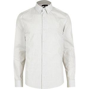 Wit slim-fit overhemd met kleine stipjes