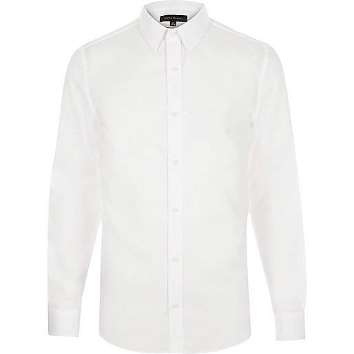 White point collar slim fit shirt