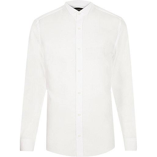 White wing collar slim fit shirt