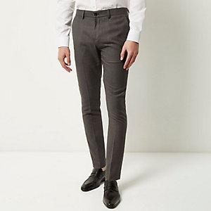 Donkergrijze broek met textuur