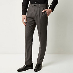Dark grey slim textured pants
