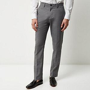 Medium grey slim textured trousers