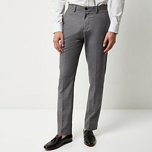 Medium grey slim textured pants