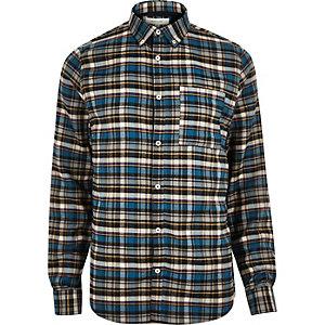 Chemise en flanelle bleue à carreaux