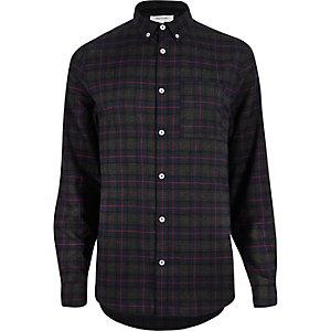 Chemise en flanelle à carreaux grise