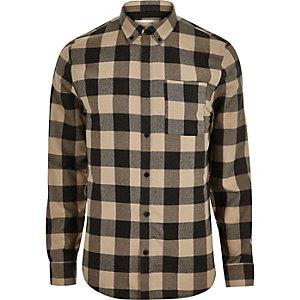 Chemise en flanelle à carreaux marron