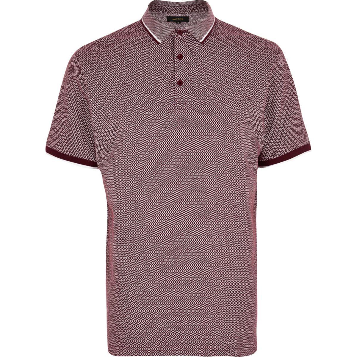 Burgundy diamond polo shirt