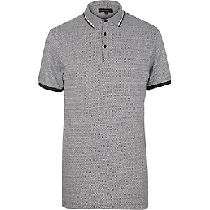 Black diamond jacquard polo shirt