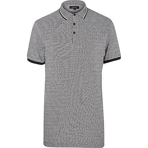 Black diamond jacquard polo shirt