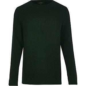 Dark green textured waffle jumper