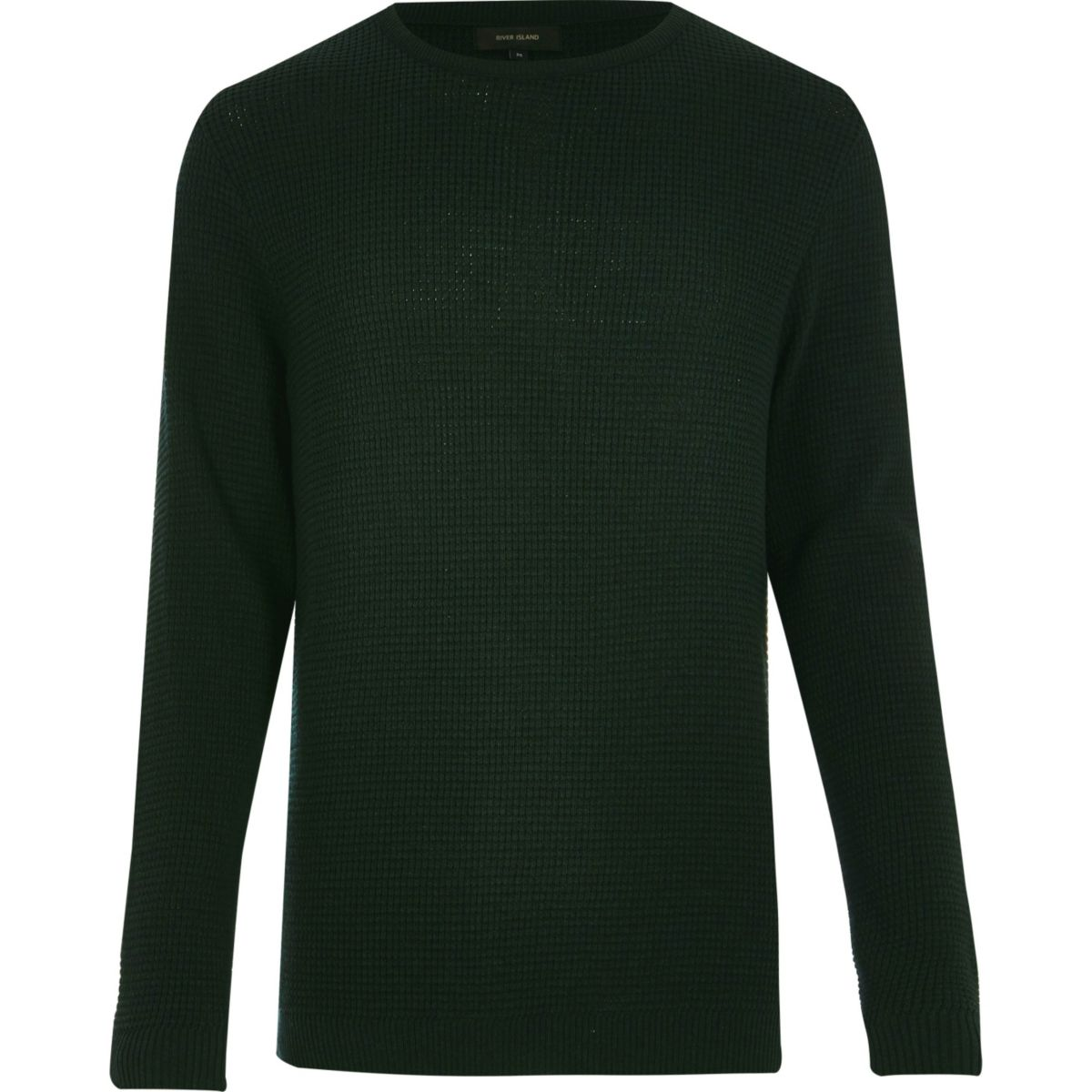 Dark green textured waffle sweater