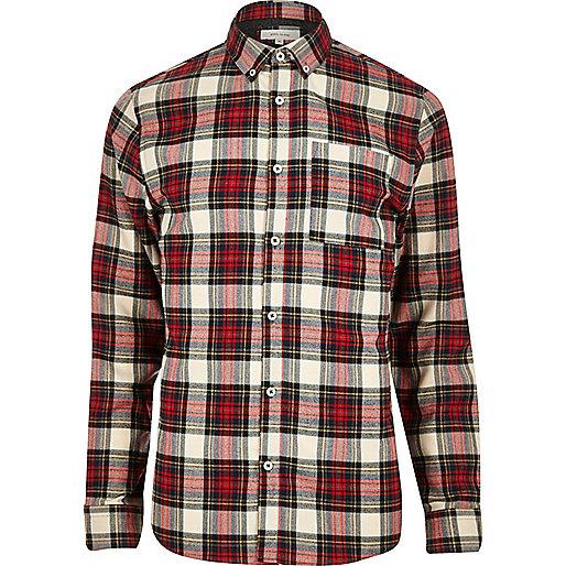 Red tartan check flannel shirt