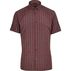 Red tartan slim fit shirt