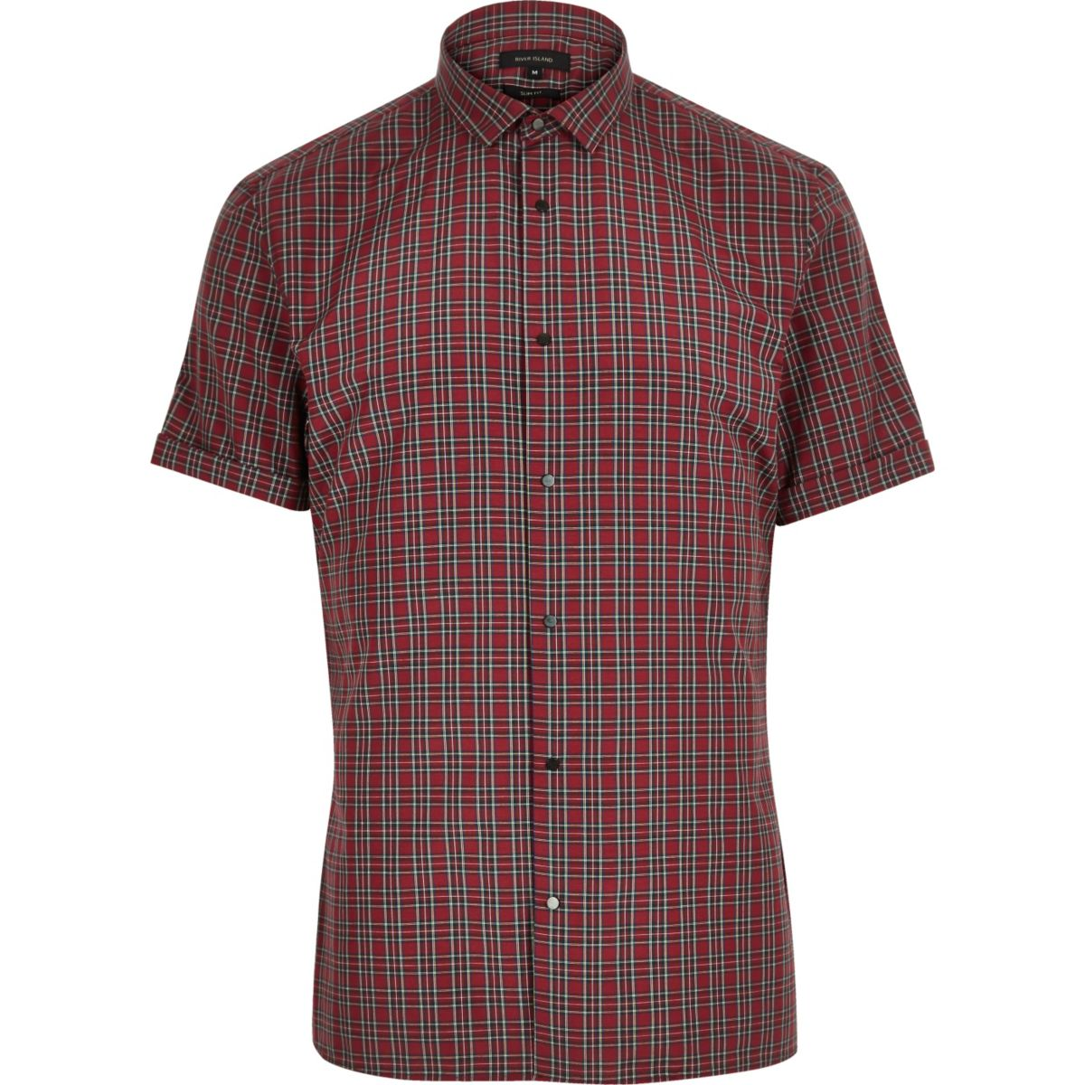 Red tartan slim fit shirt