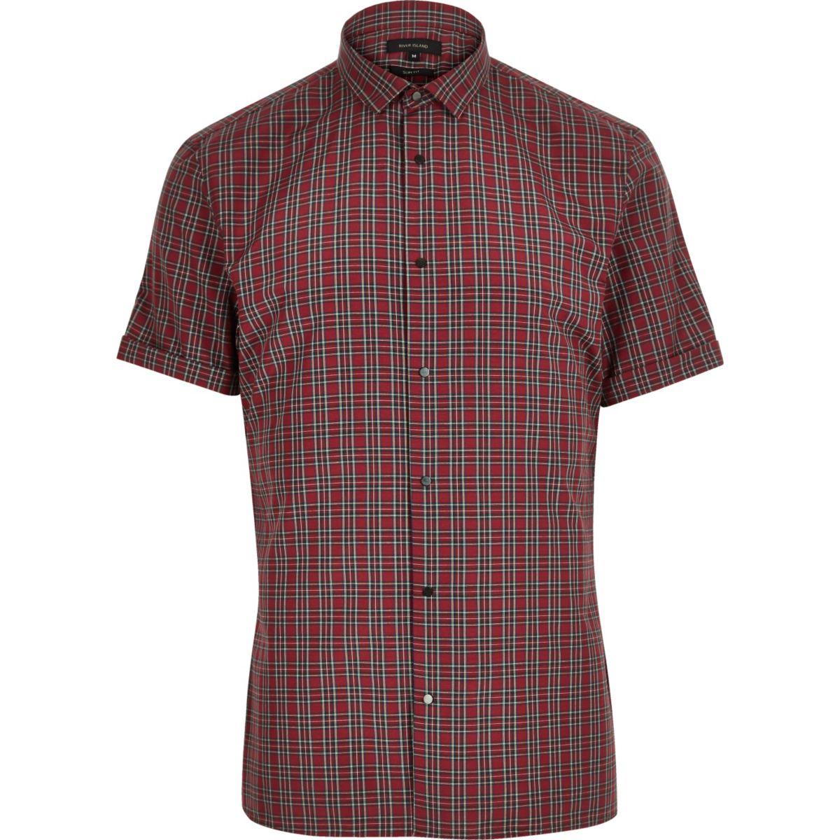 Red plaid slim fit shirt