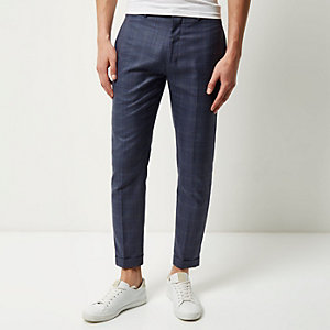 Blue checked skinny cropped trousers