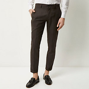 Chocolate skinny cropped trousers