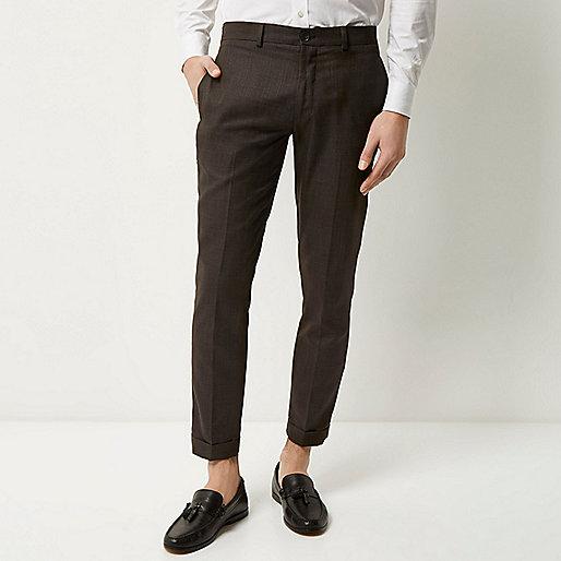 Pantalon court chocolat coupe skinny
