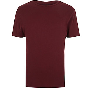Red essential ribbed slim t-shirt
