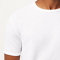 Wit slim-fit T-shirt met wafelstructuur