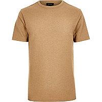 Slim Fit T-Shirt mit Waffle-Struktur in Camel