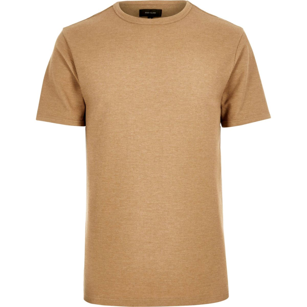 Slim Fit T-Shirt mit Waffle-Struktur in Camel