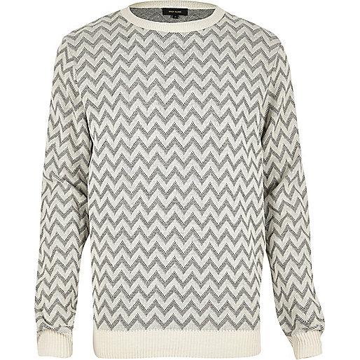 Grey zig zag knitted jumper