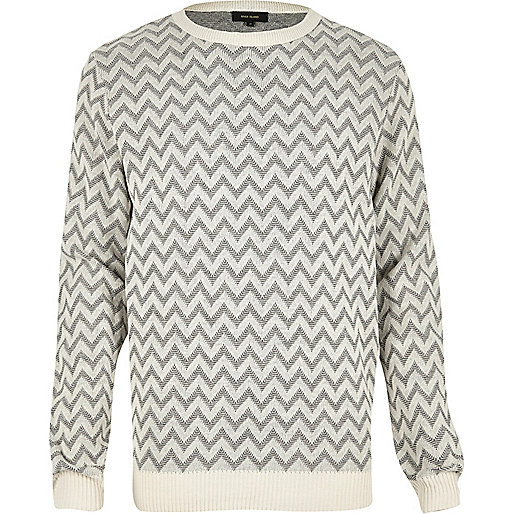 Grey zig zag knitted sweater