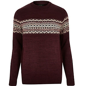 Dark red knitted fairisle jumper