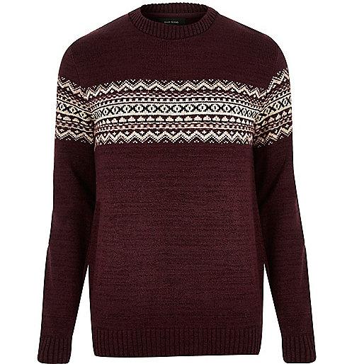 Dark red knitted fairisle sweater