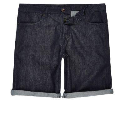 Dark rinse slim-fit denim short