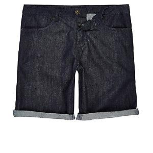 Dark rinse slim fit denim shorts