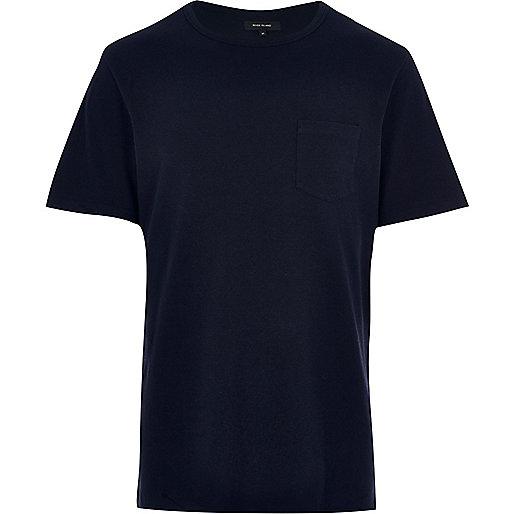 Dark blue chest pocket T-shirt