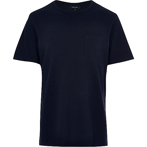 Dark blue chest pocket T-shirt