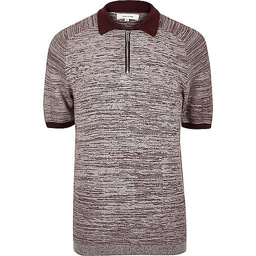 Burgundy Textured Zip Up Polo Shirt Jumpers Cardigans: burgundy polo shirt boys