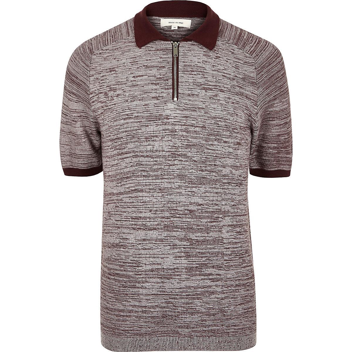 Burgundy textured zip-up polo shirt