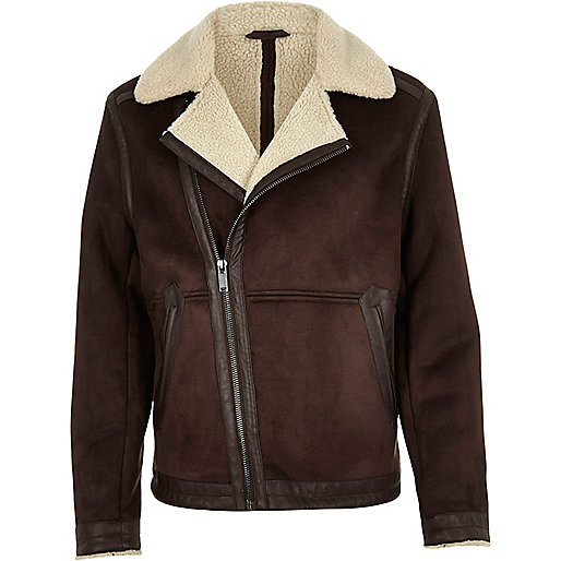 Brown faux suede fleece jacket