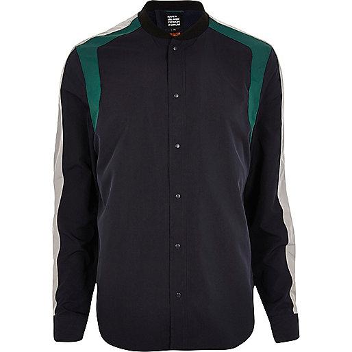 Navy Lou Dalton panelled shirt jacket