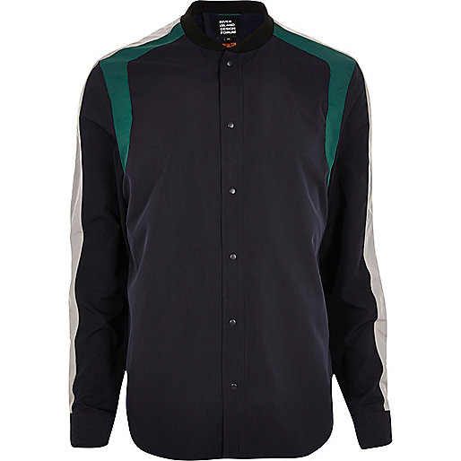 Navy Lou Dalton panelled shirt jacket
