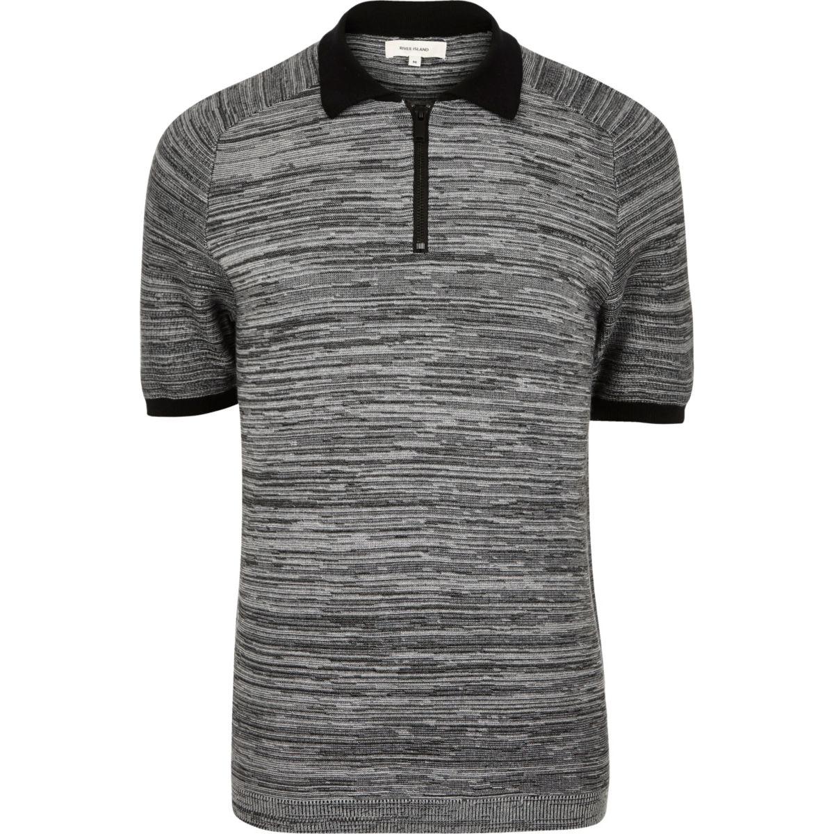 Grey textured zip-up polo shirt