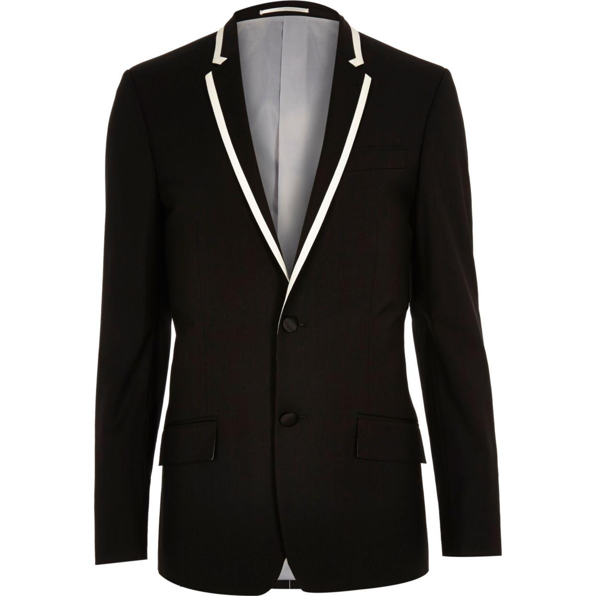 Zwart skinny-fit gekleed colbert