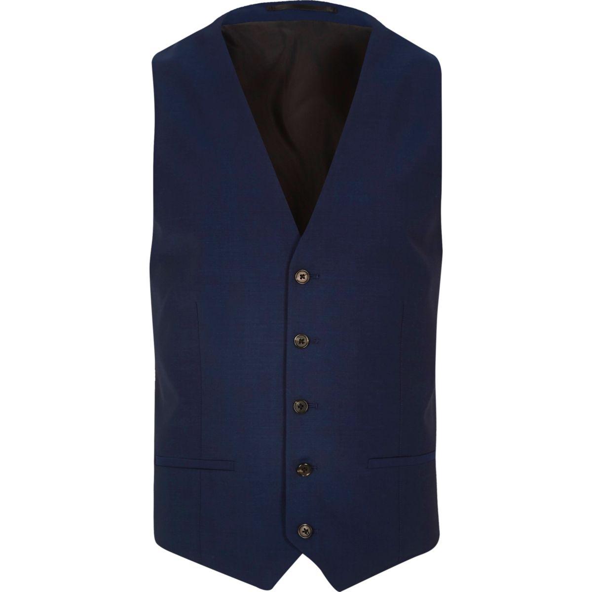 Bright blue slim waistcoat