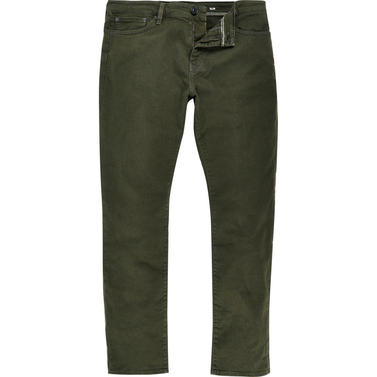 Khaki green Dylan slim fit jeans