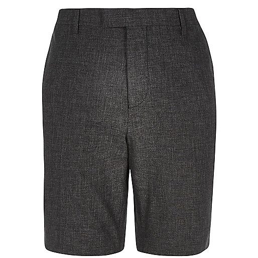 Black linen tailored shorts