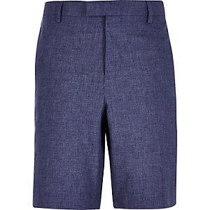 Blue linen bermuda shorts