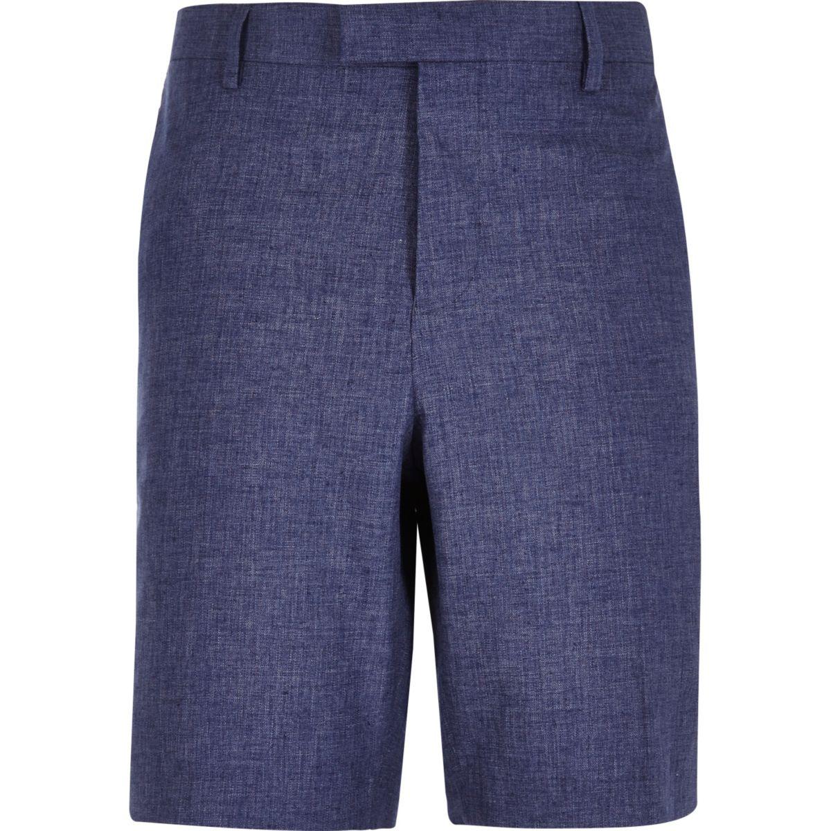 Blaue Bermuda-Shorts aus Leinen