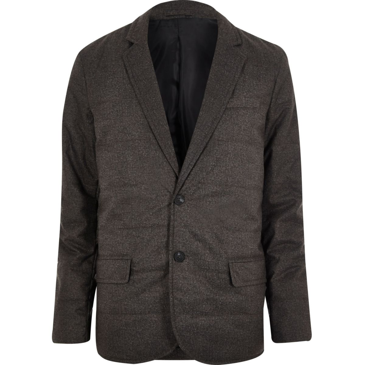 Dark grey padded quilted slim blazer
