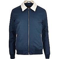 Navy borg collar harrington jacket