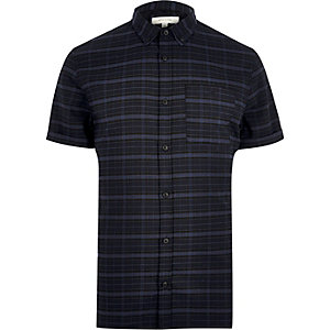 Navy check stretch short sleeve slim shirt