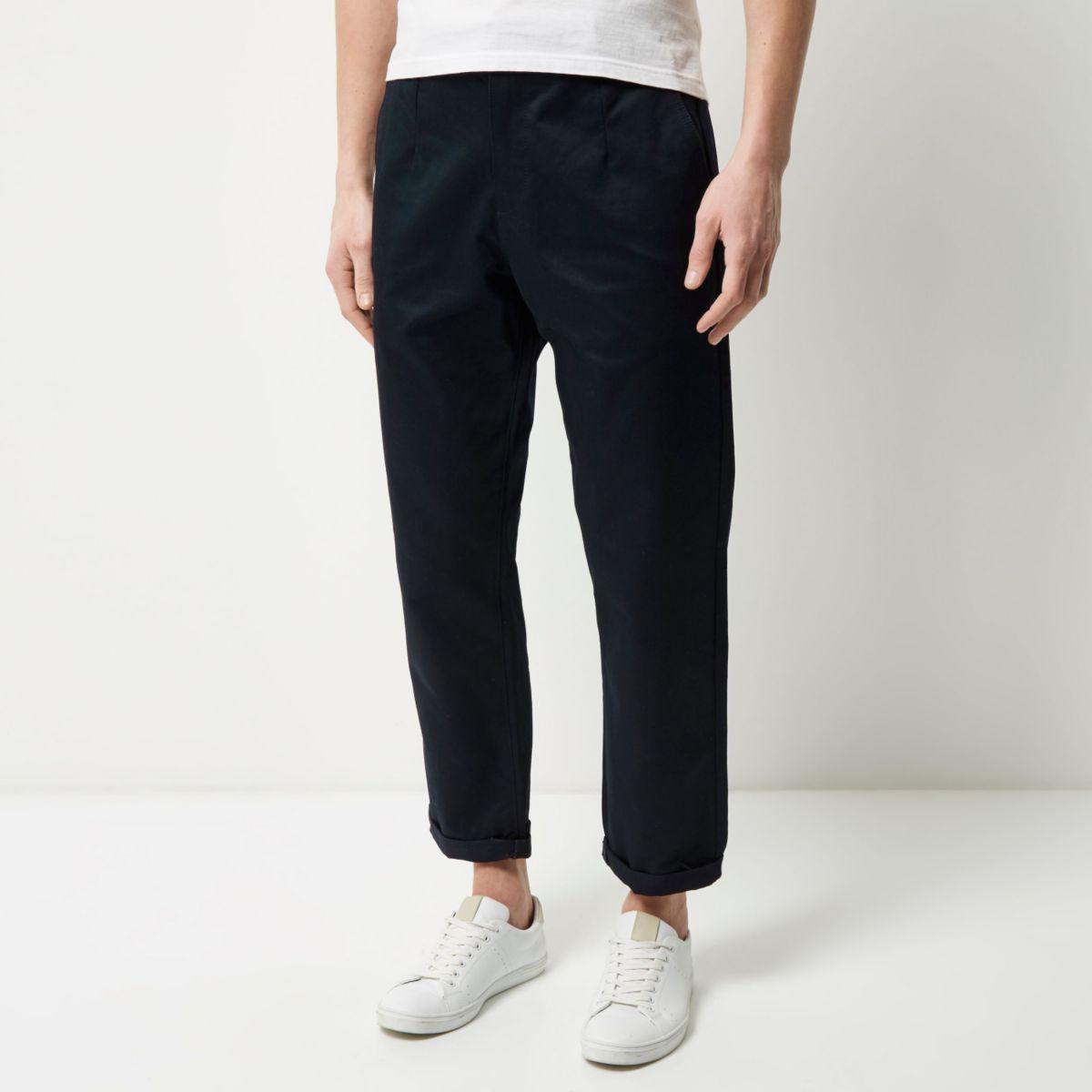 Navy wide leg trousers